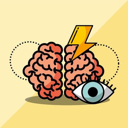 brain creative idea brainstorm solutions vector illustration Çizim