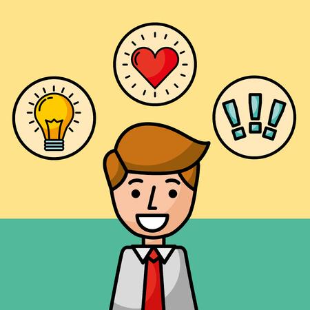 businessman portrait character happy idea love and exclamation vector illustration Illusztráció
