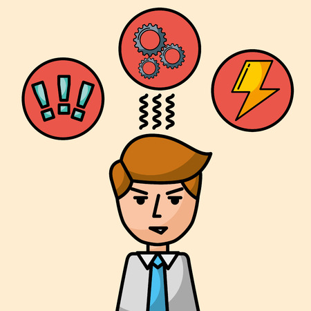 businessman portrait character angry brainstorm work vector illustration