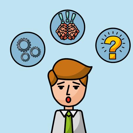businessman portrait character surprised brain creativity vector illustration 向量圖像