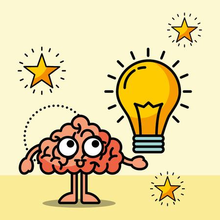 brain cartoon creative bulb idea vector illustration Çizim