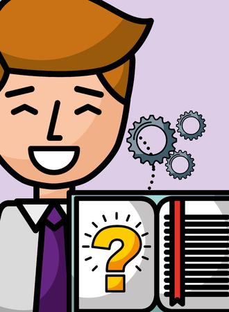businessman cartoon book learn question solution vector illustration