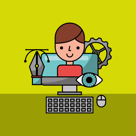 designer character in computer graphic creative process vector illustration