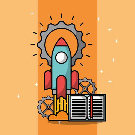 rocket startup book gear creative process vector illustration