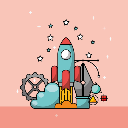 graphic design rocket startup gear creative process vector illustration
