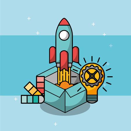 box rocket launch bulb idea gear creative process vector illustration
