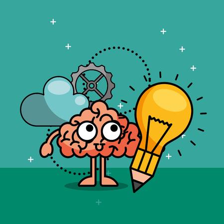 brain cartoon bulb idea innovation creative process vector illustration