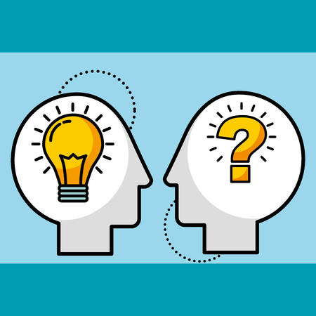 silhouette man heads bulb idea and question symbol vector illustration