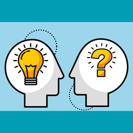 silhouette uomo teste lampadina idea e simbolo domanda illustrazione vettoriale