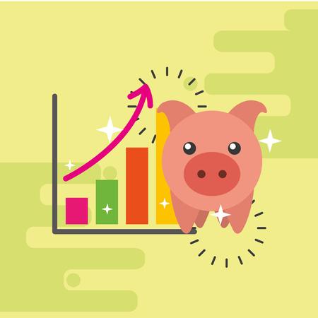 piggy bank financial statistic graph vector illustration Illustration