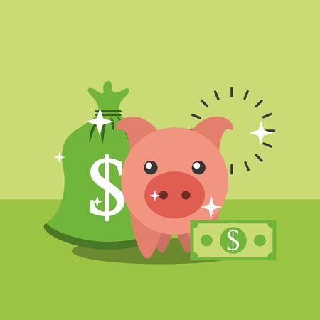piggy bank bag money dollar banknote vector illustration