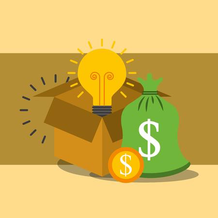 box storage bag money coin idea bulb vector illustration