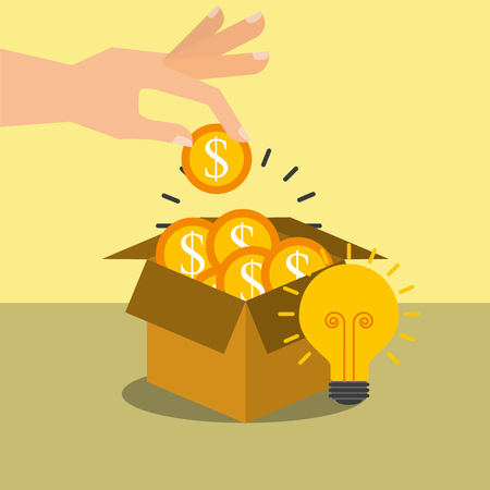 hand putting coin dollar in box bulb idea vector illustration Иллюстрация