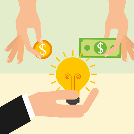 hands holding money bulb and banknote vector illustration Иллюстрация