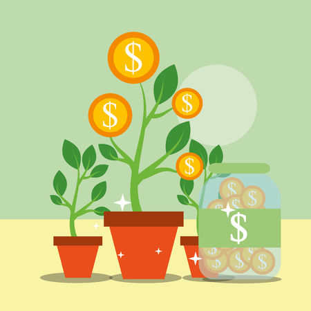 plant growth coins container saving money vector illustration Illustration