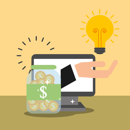 computer hand with bulb idea container coins money vector illustration