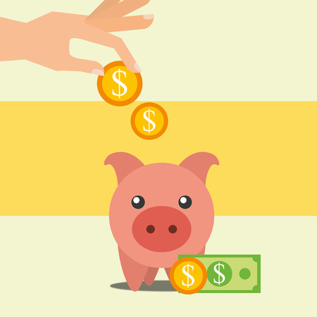 hand puts coins dollar in piggy bank vector illustration Illustration