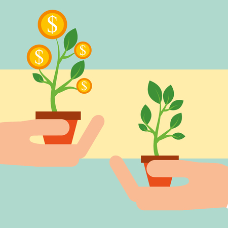 hands with plant growth with coins money vector illustration