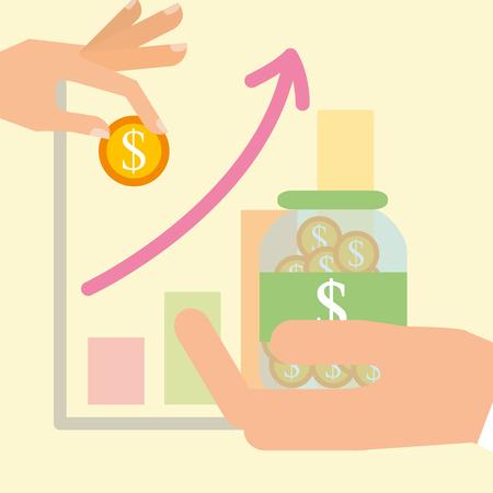 hand saving money business finance statistic chart vector illustration