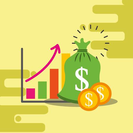 business finance statistic chart bag money dollar vector illustration 向量圖像