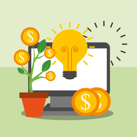 computer business plant growth money idea vector illustration
