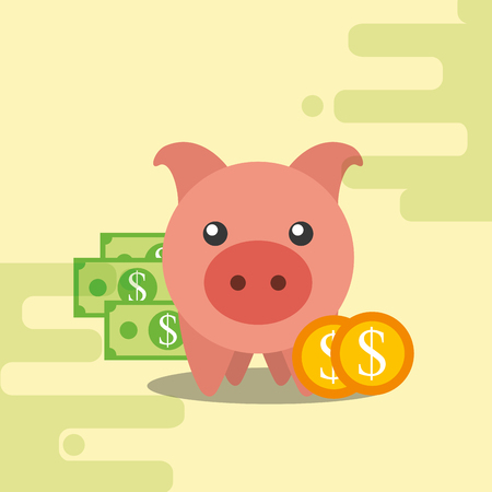 piggy bank banknote and coins dollar vector illustration Ilustracja