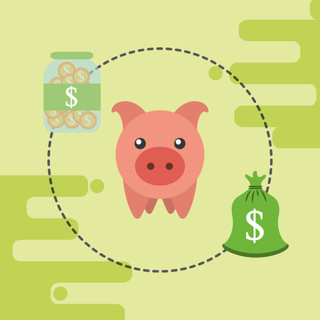 piggy bank bag money and glass container coins vector illustration