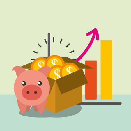 piggy bank and box full coins money vector illustration Illustration