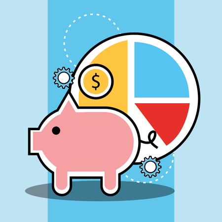 piggy bank and pie chart diagram analytics and investment vector illustration Illustration