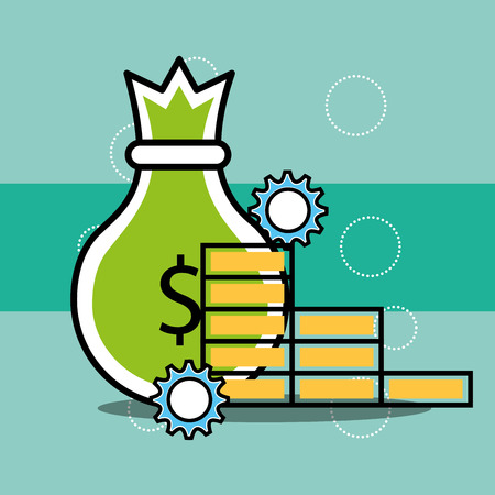 bag money and coins analytics and investment vector illustration
