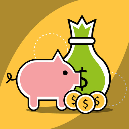 piggy bank bag money coins analytics and investment vector illustration Stock Vector - 101930054