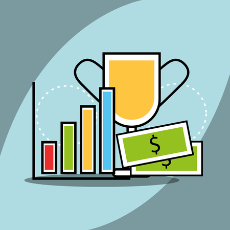 statistics chart banknote and trophy analytics and investment vector illustration Ilustração