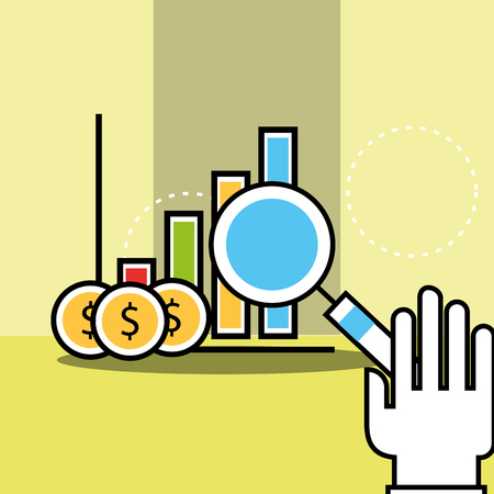 hand holding magnifying glass chart and coins analytics and investment vector illustration