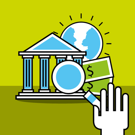 hand holding magnifying glass bank money world analytics and investment vector illustration