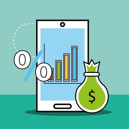 phone bag money percent analytics and investment vector illustration