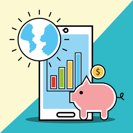 phone piggy bank and world analytics and investment vector illustration