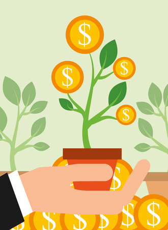 hand holding plant tree coins growth vector illustration