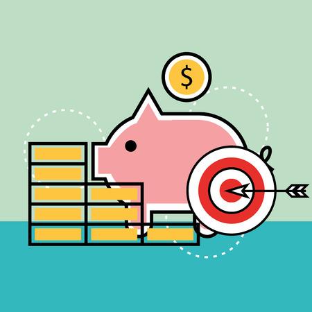 piggy bank money target analytics and investment vector illustration Illustration