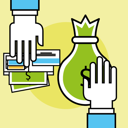 hand holds bag money and money card bank analytics and investment vector illustration Illustration