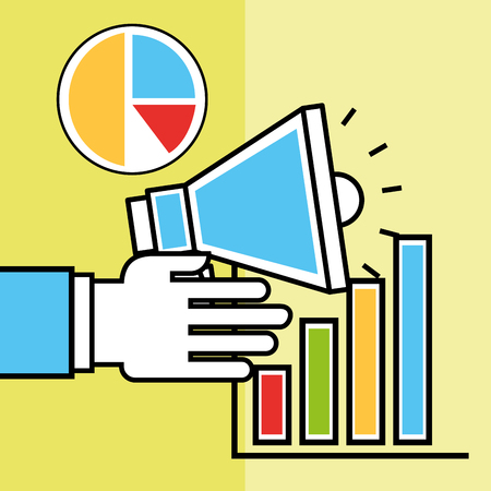 hand holding megaphone pie chart analytics and investment vector illustration Banque d'images - 101930139