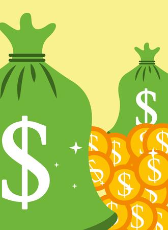 saving bag money coins dollar vector illustration Standard-Bild - 101930141