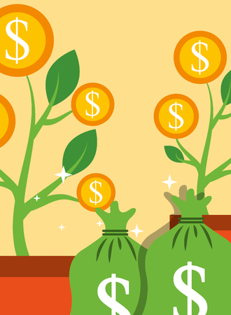 saving money bag and plant tree coins growth vector illustration