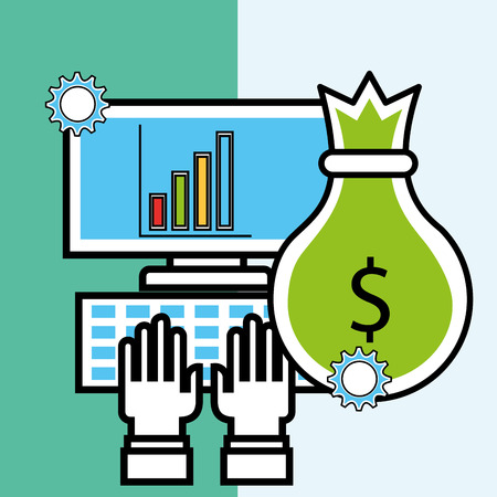 computer bag money analytics and investment vector illustration