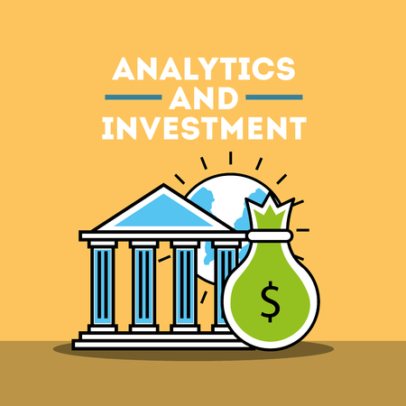 bank bag money and world analytics and investment vector illustration