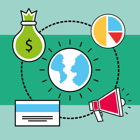 world bank card money pie chart analytics and investment vector illustration Ilustração
