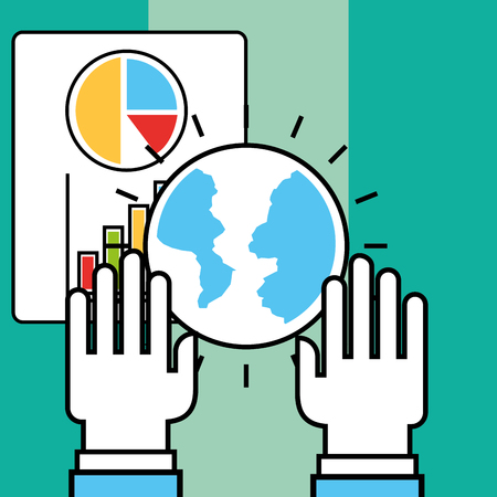 hands world and paper report analytics and investment vector illustration