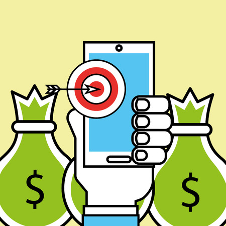 hand holding phone target and money analytics and investment vector illustration