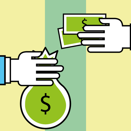 hands bag money and banknote transaction analytics and investment vector illustration Illustration