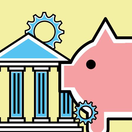 piggy bank analytics and investment vector illustration Illustration