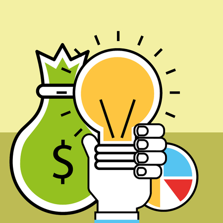 hand holding bulb idea money analytics and investment vector illustration